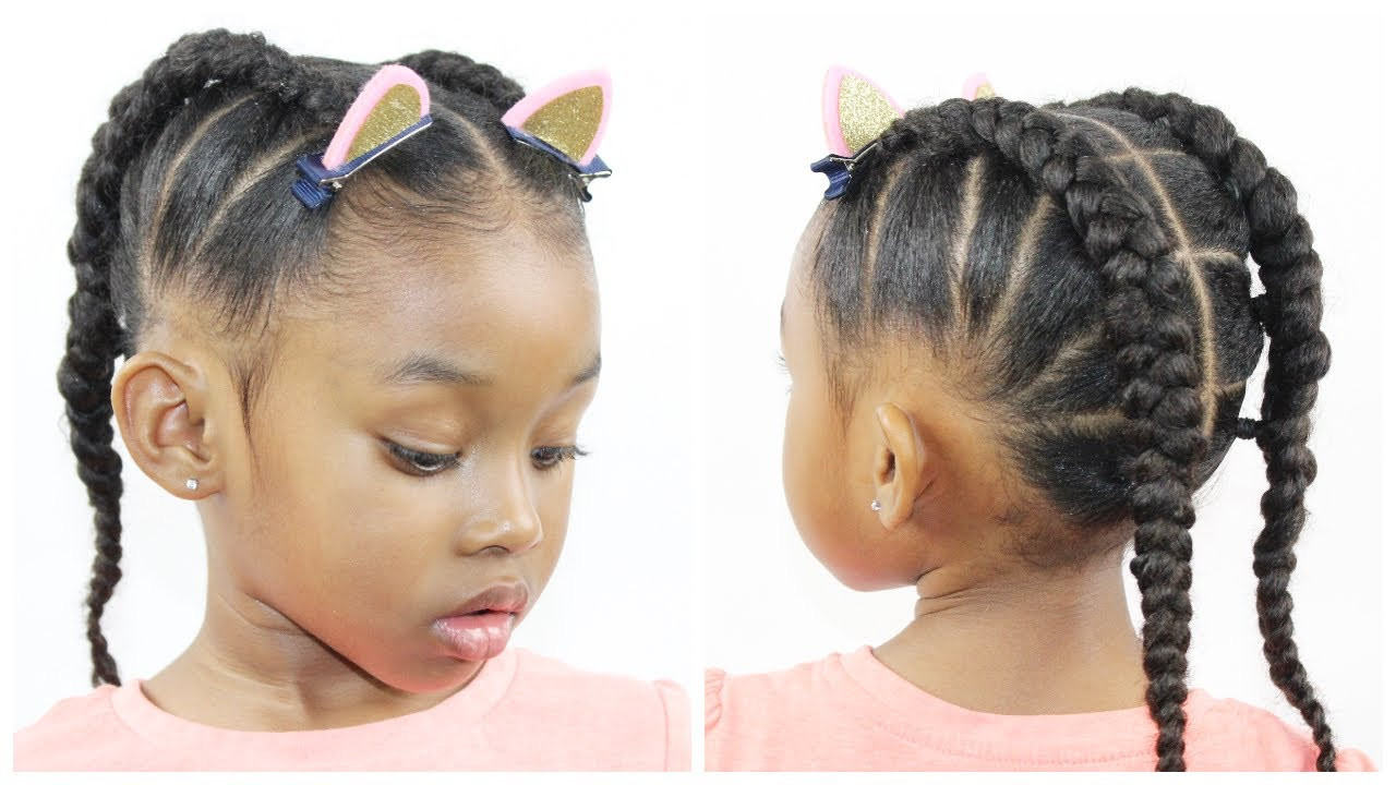 Hairstyles For Natural Little Girl  Ponytail Cornrow Hairstyles for Little Girls