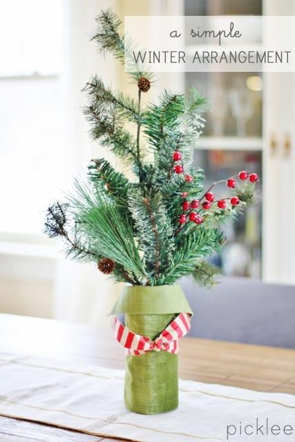 Homemade Christmas Flower Arrangements  A Simple Christmas Floral Arrangement [DIY] Picklee