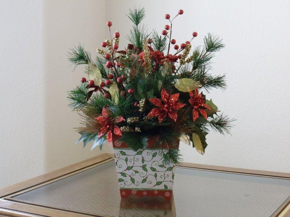 Homemade Christmas Flower Arrangements  Homemade Christmas Fake Flower Arrangements Poinsett