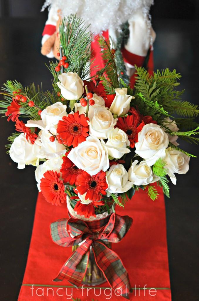 Homemade Christmas Flower Arrangements  DIY Christmas Flower Arrangement Teacher's Gift