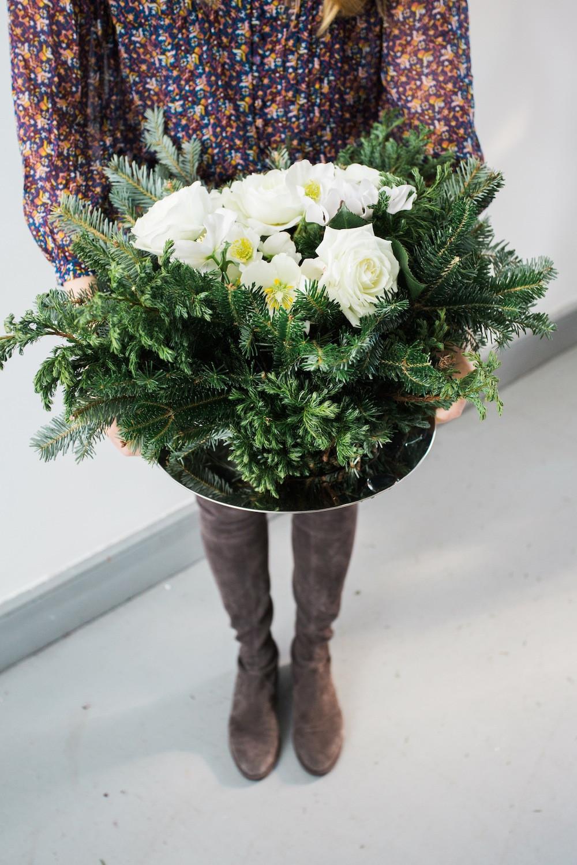 Homemade Christmas Flower Arrangements  DIY Holiday Floral Arrangement The Stripe