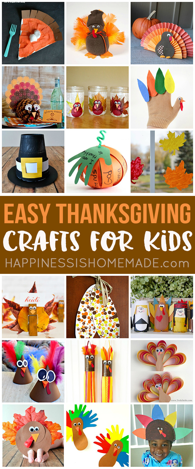 Homemade Crafts For Toddlers  Easy Thanksgiving Crafts for Kids to Make Happiness is