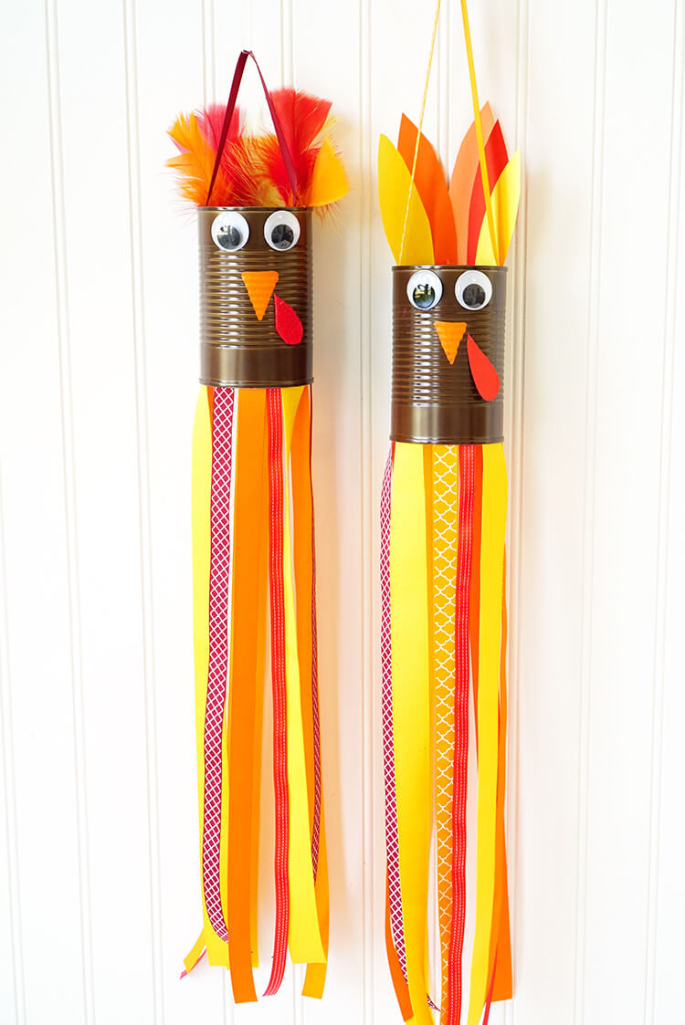 Homemade Crafts For Toddlers  Thanksgiving Kids Craft Turkey Windsocks Happiness is
