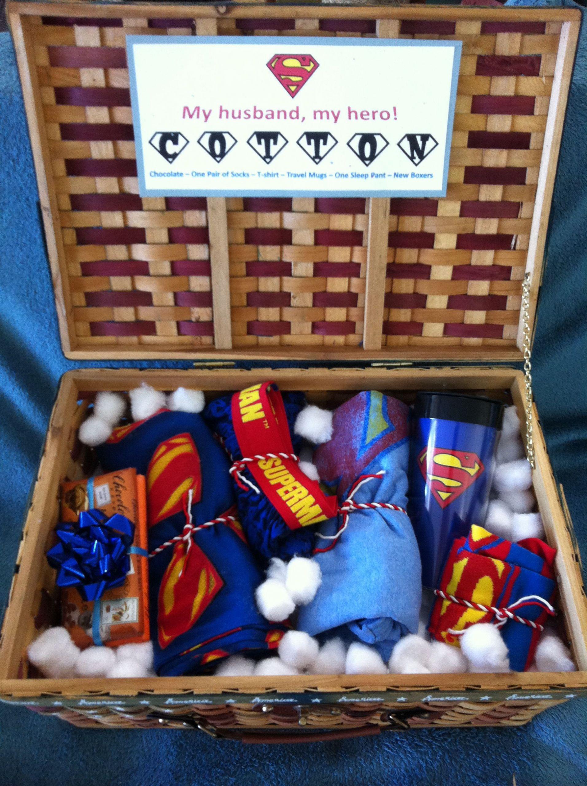 Husband Anniversary Gift Ideas  2nd Anniversary Cotton Super Husband Basket