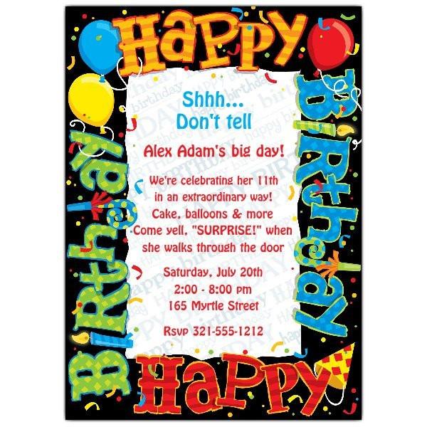 Invitation Birthday Party  Happy Birthday To You Party Invitations