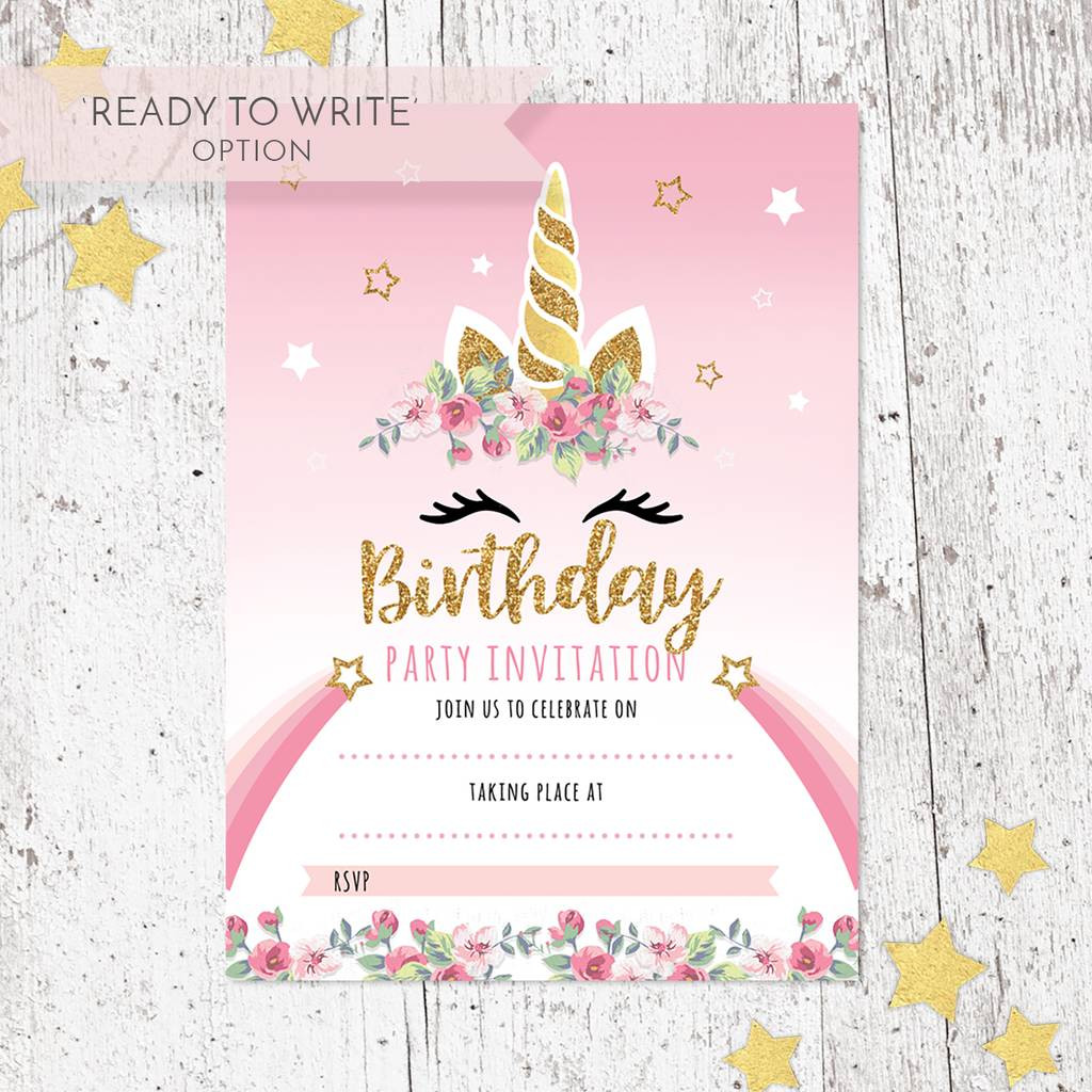 Invitation Birthday Party  unicorn birthday party invitations pack of 20 by heart