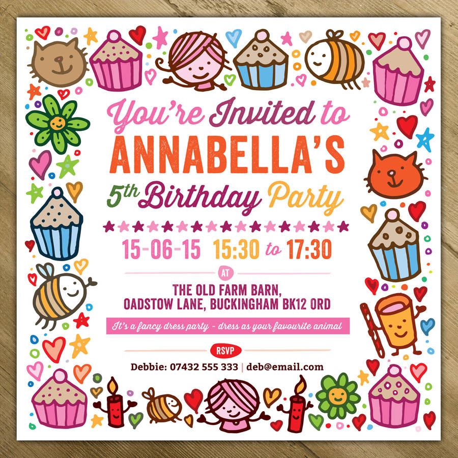 Invitation Birthday Party  childrens party invitations by a is for alphabet