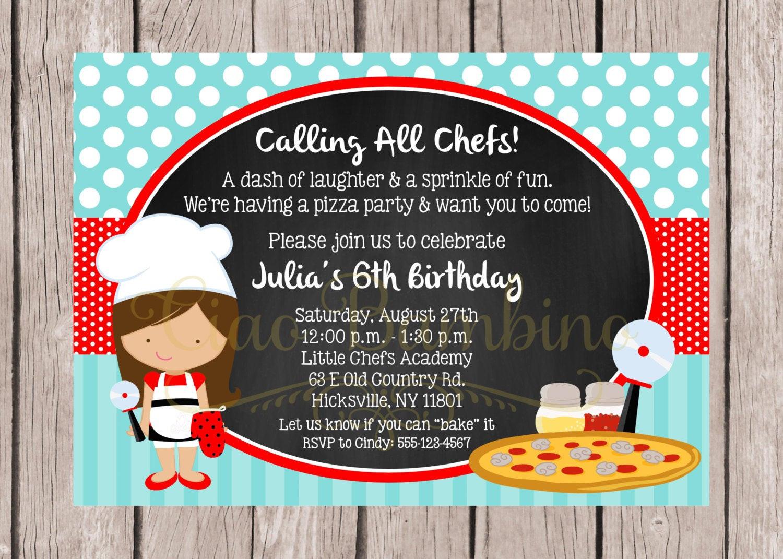 Invitation Birthday Party  PRINTABLE Little Chef Birthday Party Invitation Pizza Party