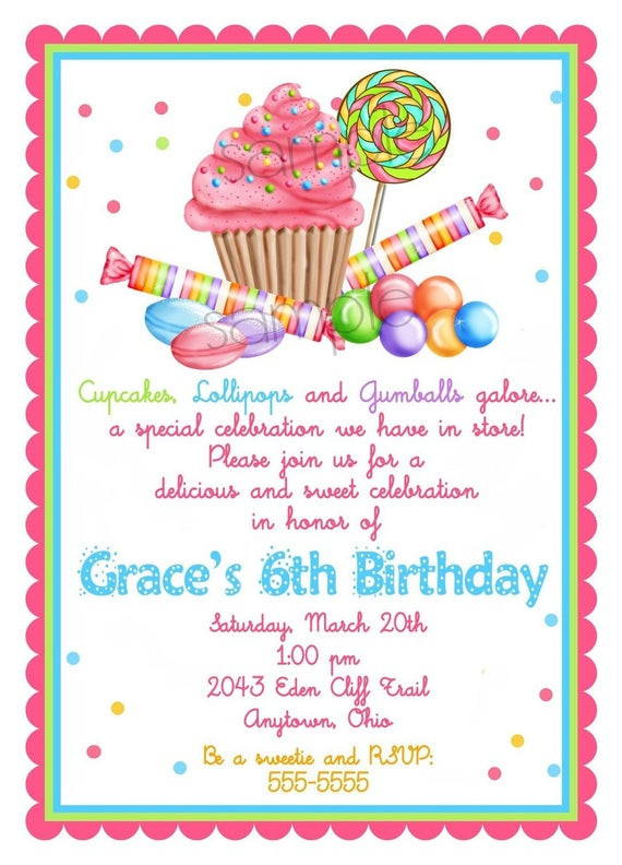 Invitation Birthday Party  Sweet Shop Birthday party Invitations Candy Cupcake