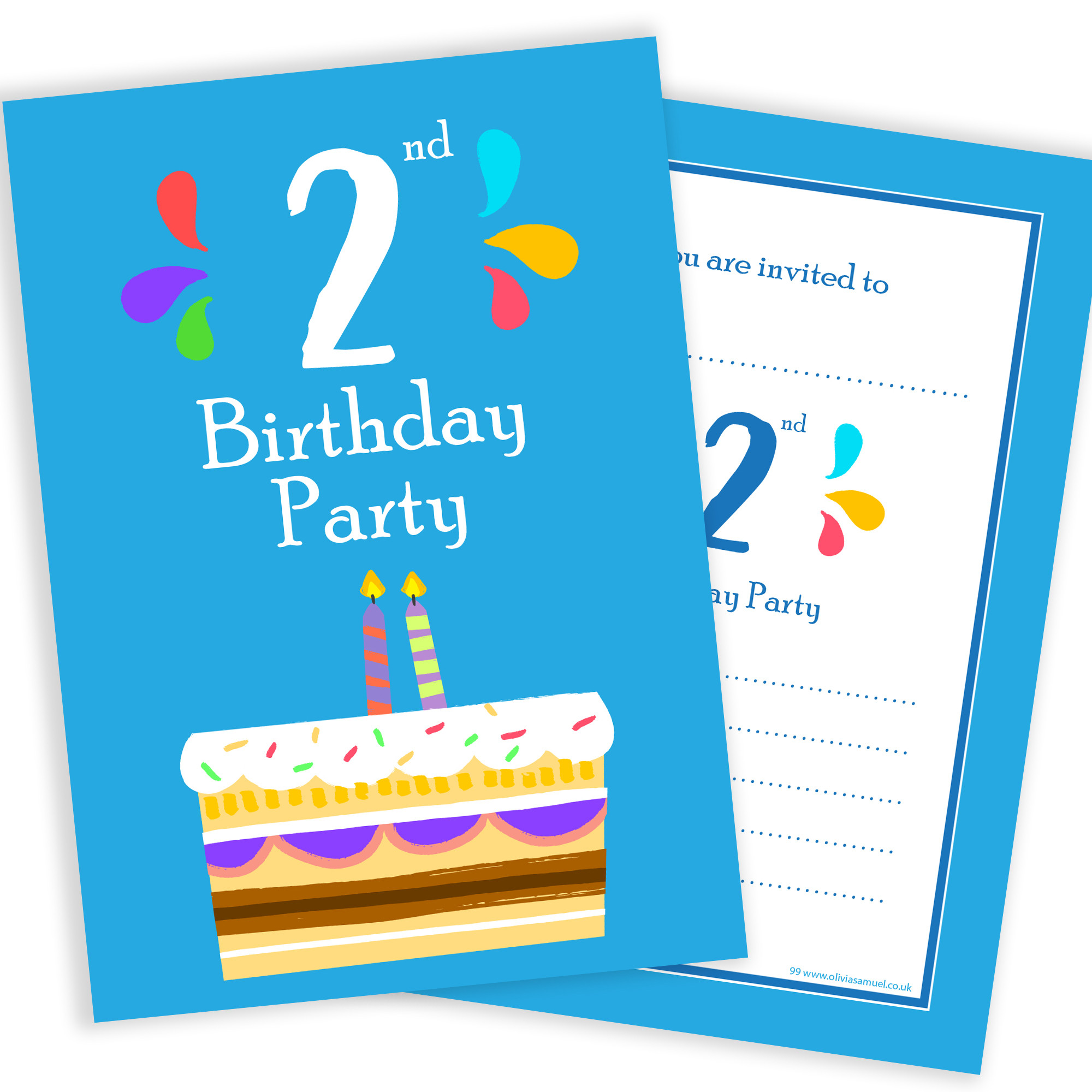Invitation Birthday Party  2nd Birthday Party Invitations – 2 Candle Blue Cake Design