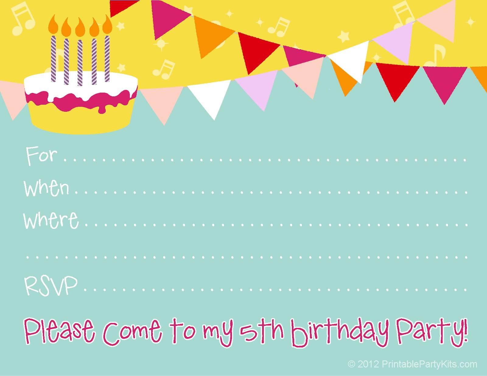 Invitation Birthday Party  Free Birthday Party Invitations for Girl – FREE Printable