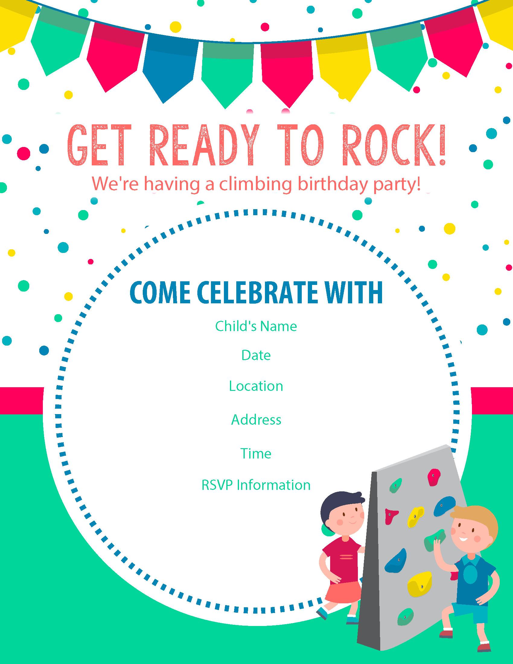 Invitation Birthday Party  Happy Birthday Free Rock Climbing Birthday Party Invitations
