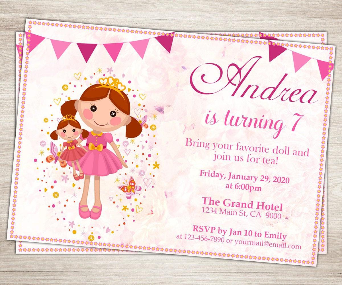 Invitation Birthday Party  Doll Birthday Party Invitation Dolly and Me Party Invite