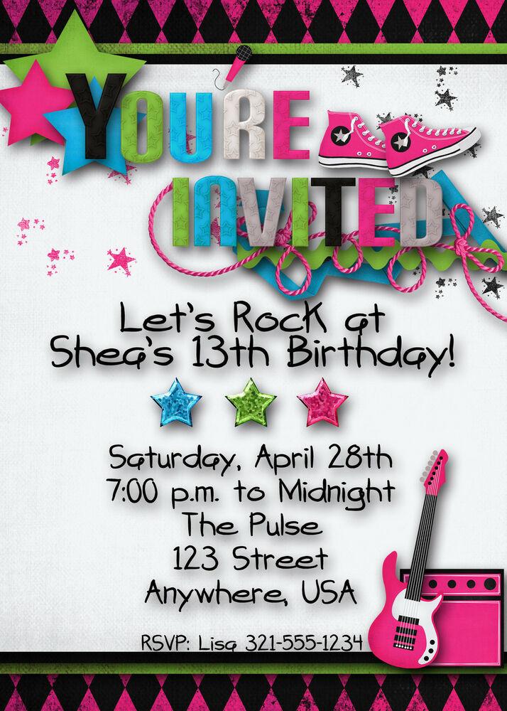 Invitation Birthday Party  Rock Star Birthday Party Invitation Girl Teen Hip Hop
