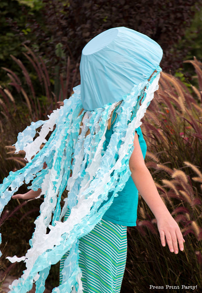 Jellyfish Costume DIY  Awesome Jellyfish Costume DIY Easy Light Up Hat Press