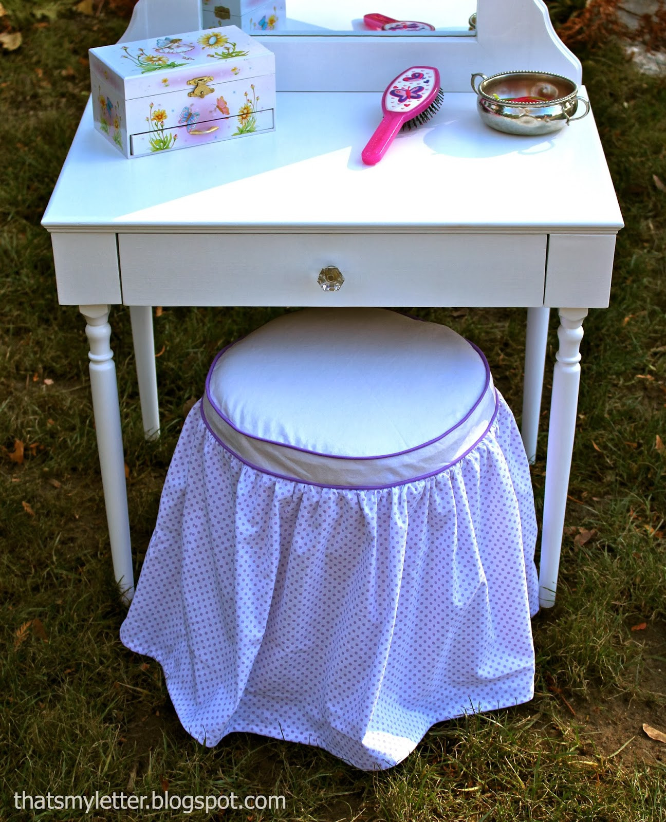 Kids Bathroom Stool  That s My Letter DIY Vanity Stool & Slipcover