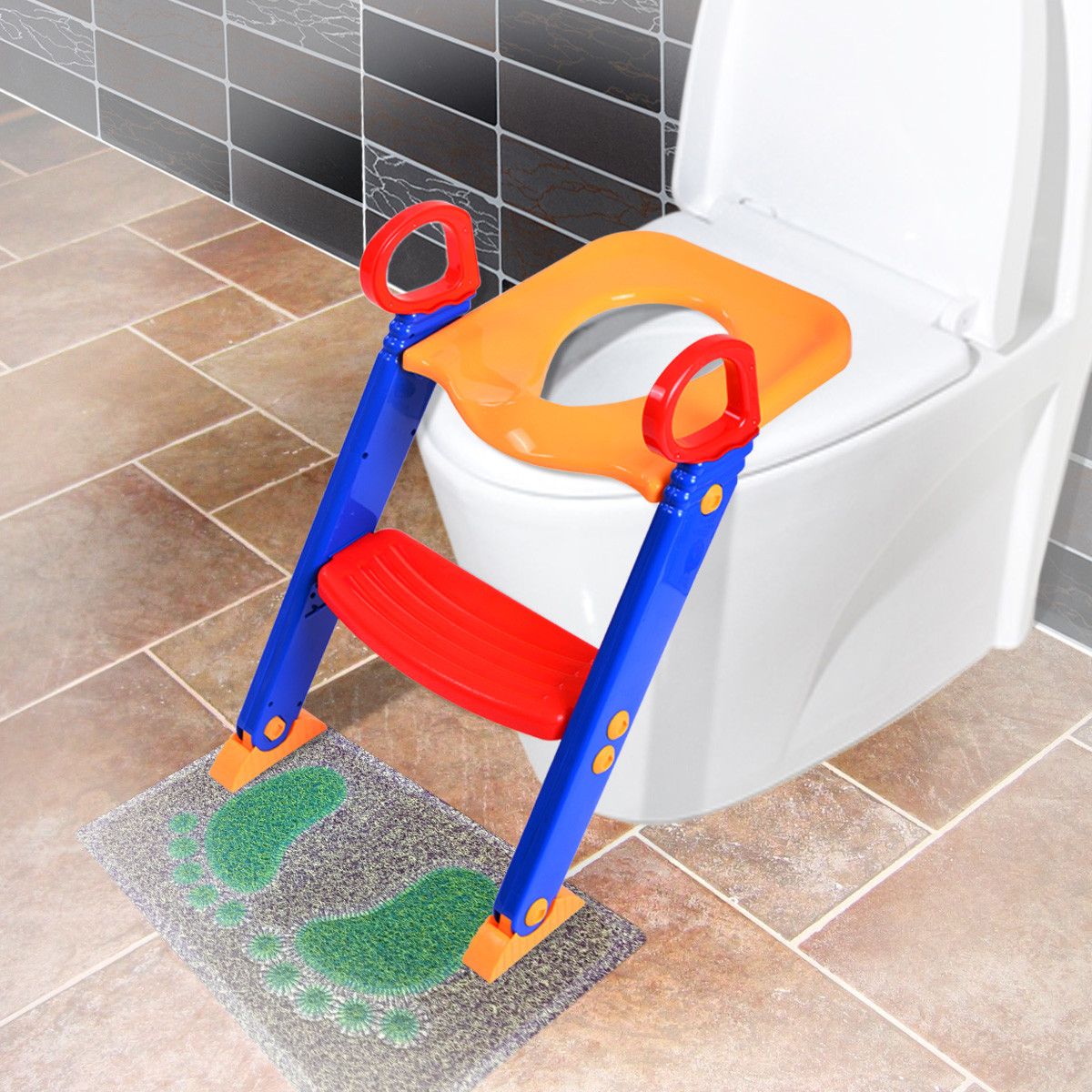 Kids Bathroom Stool  Jaxpety Kids Training Potty Trainer Toilet Seat Chair
