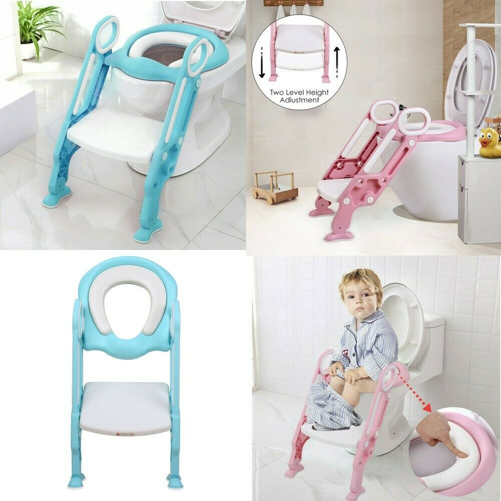 Kids Bathroom Stool  Baby Kids Potty Toddler Toilet Chair Training Seat with