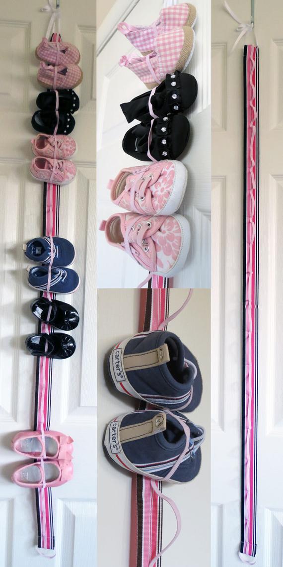 Kids Shoe Storage  Hanging Baby Shoe Organizer with Elastic Store 9 pairs of