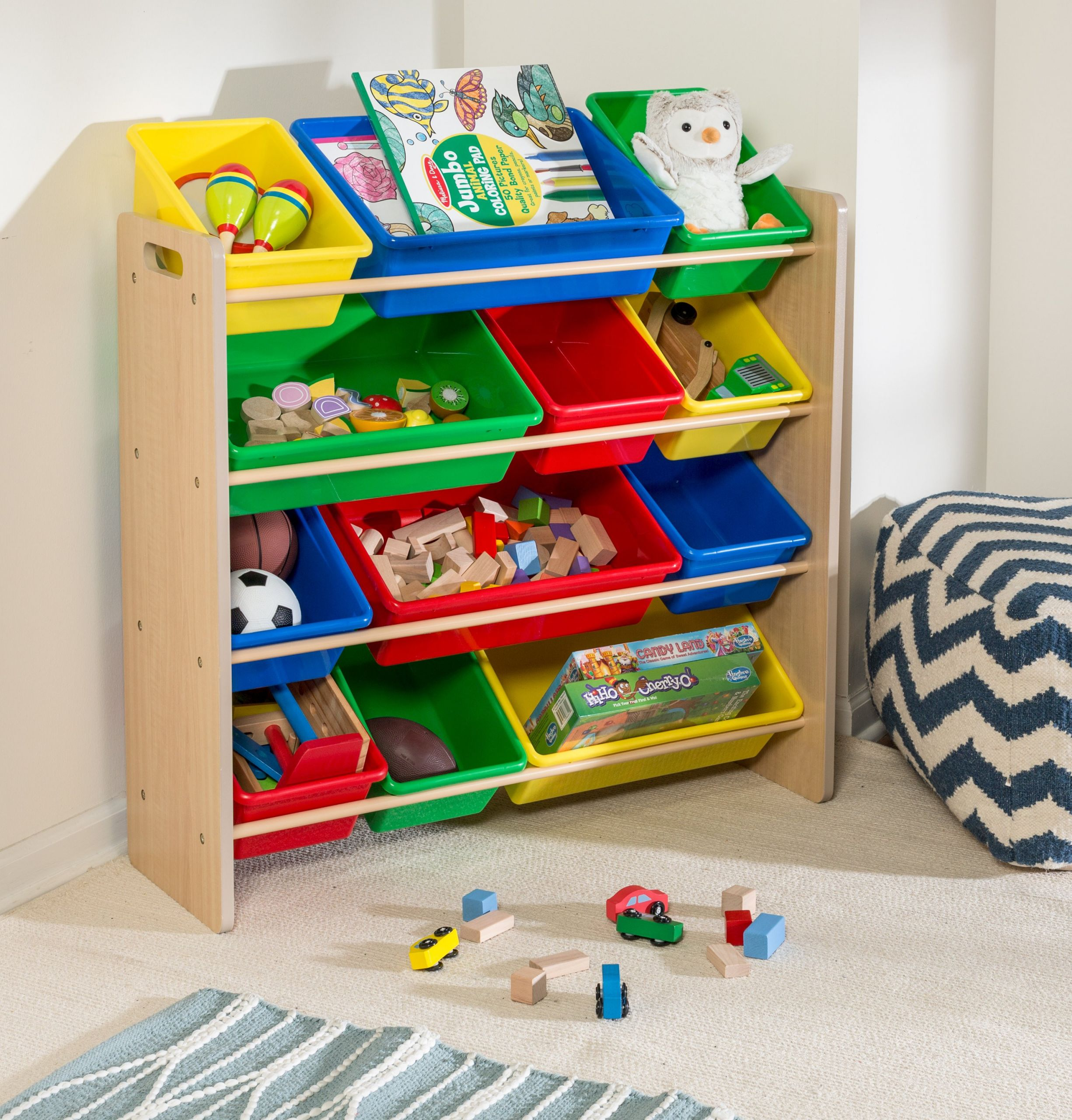 Kids Toys Storage  Kids Toy Storage Organizer with Plastic Bins Natural