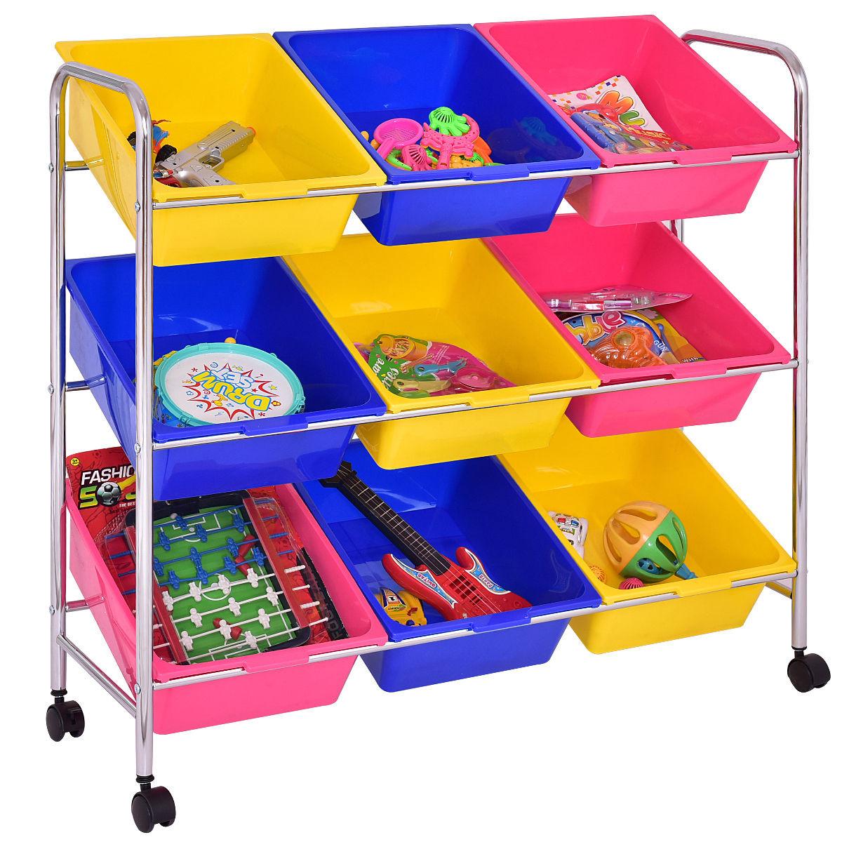 Kids Toys Storage  Costway Kids Toy Storage Shelf Organizer 9 Bins Multi