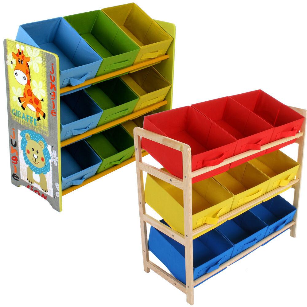 Kids Toys Storage  CHILDRENS TOY STORAGE UNIT KIDS SHELF 3 TIER 9 CANVAS