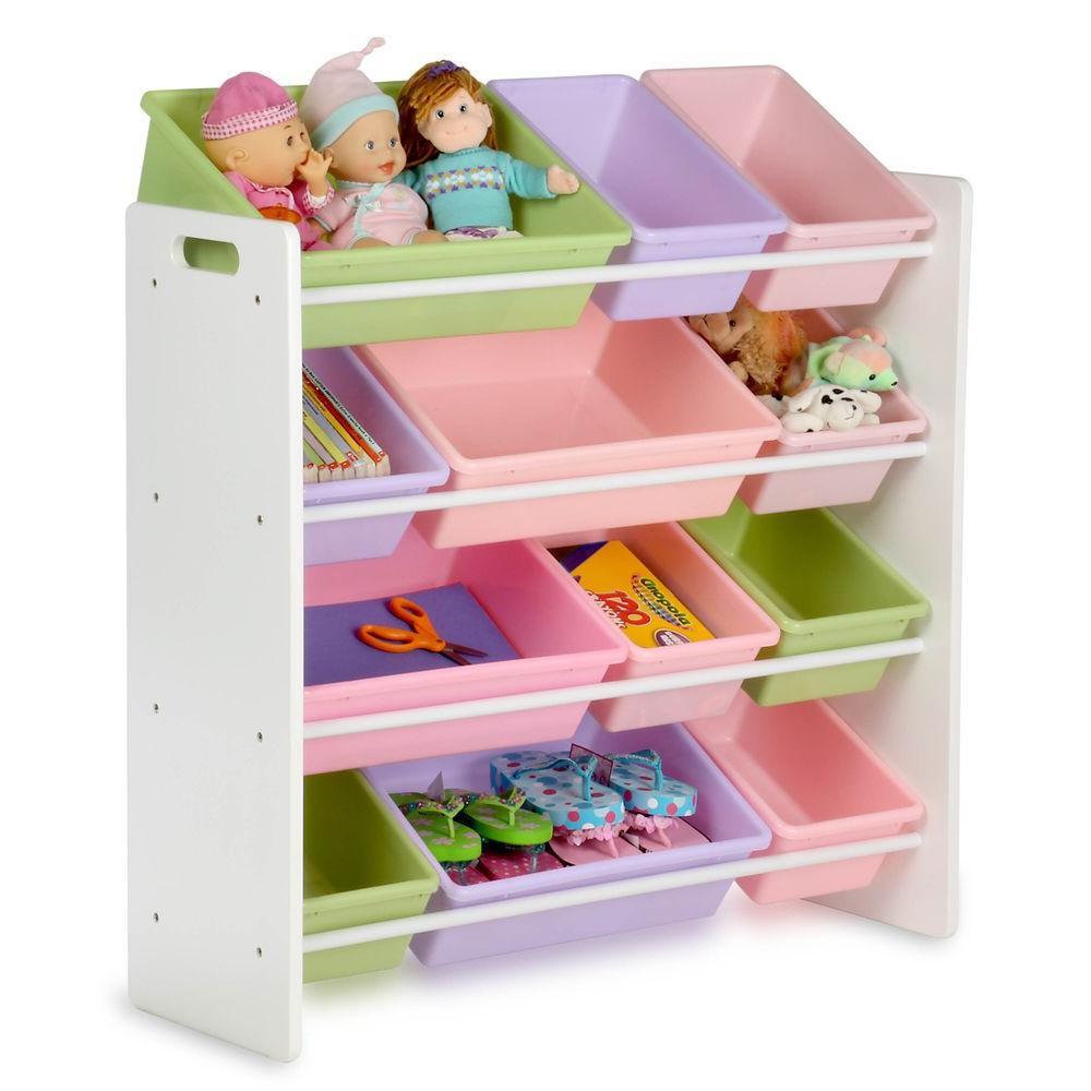 Kids Toys Storage  Honey Can Do Kids Toy Storage Organizer with Bins White
