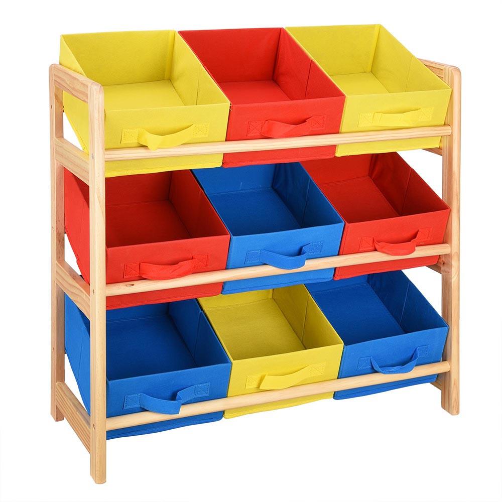 Kids Toys Storage  Kids Toy Storage Organizer Box Wood Frame Shelf Rack