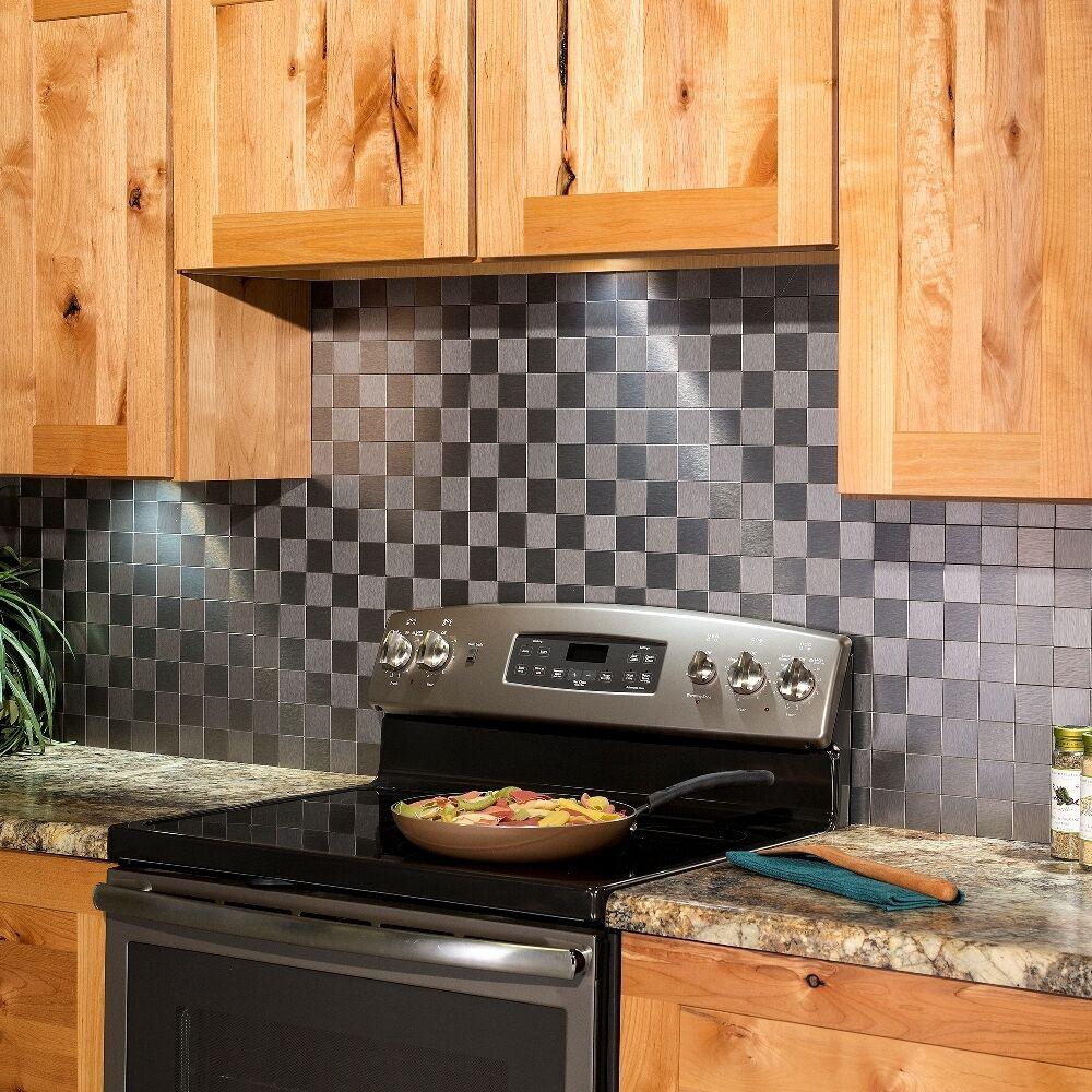 Kitchen Peel And Stick Backsplash  Aspect Peel and Stick Backsplash Square Matted Metal Tile