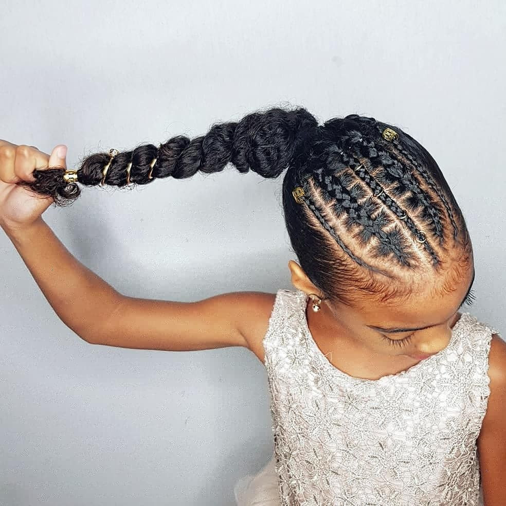 Little Girl Ponytail Hairstyles African American  Faux stitch braids ponytail hairstyles for curly little
