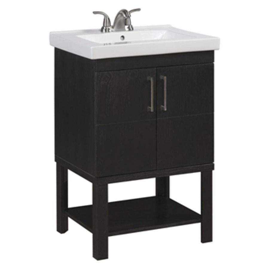 Lowes 24 Bathroom Vanity  allen roth Brown Traditional Bathroom Vanity mon 24