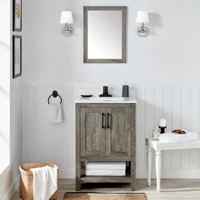 Lowes 24 Bathroom Vanity  OVE Decors Charles 24 in Weathered Gray Single Sink