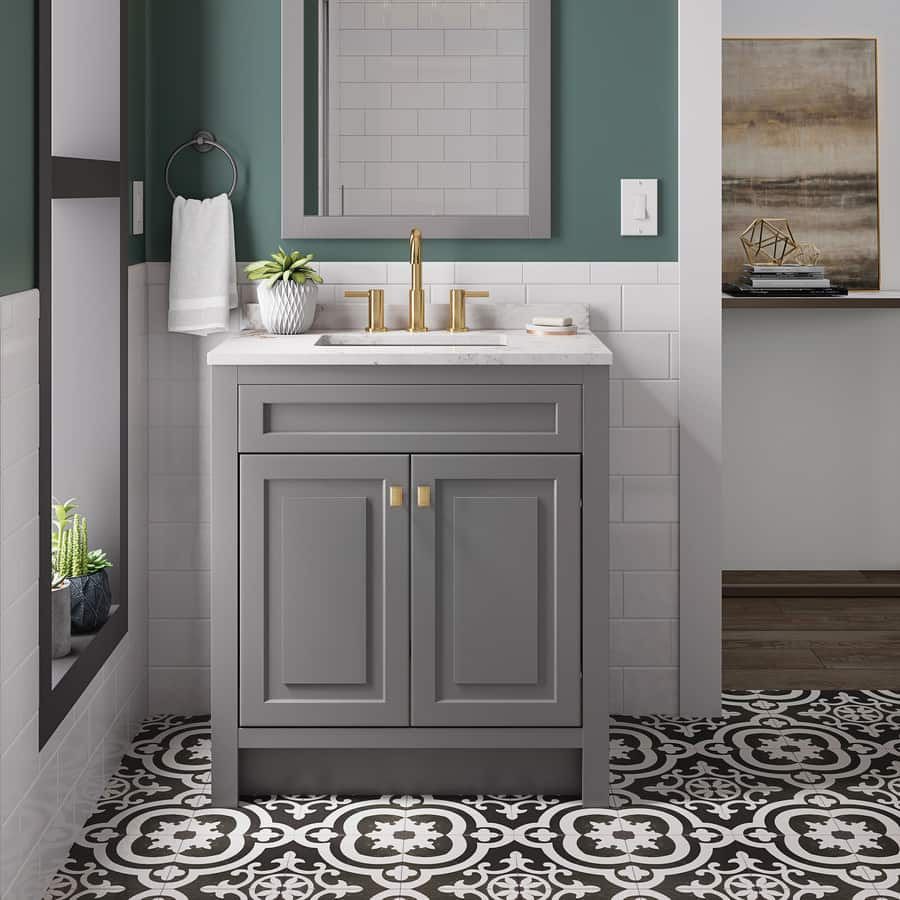 Lowes 24 Bathroom Vanity  Lowe s Style Selections Euro 24 5 in Gray Sink Bathroom