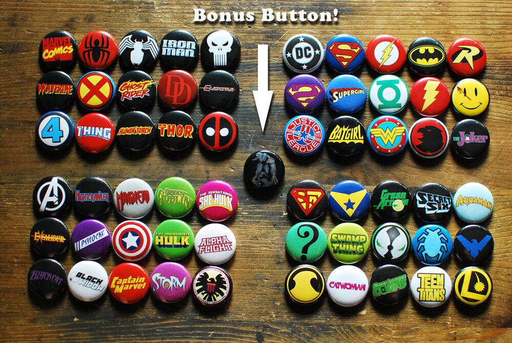 "Marvel Pins  60 x 1"" IC LOGO BUTTONS dc marvel badges batman spider"
