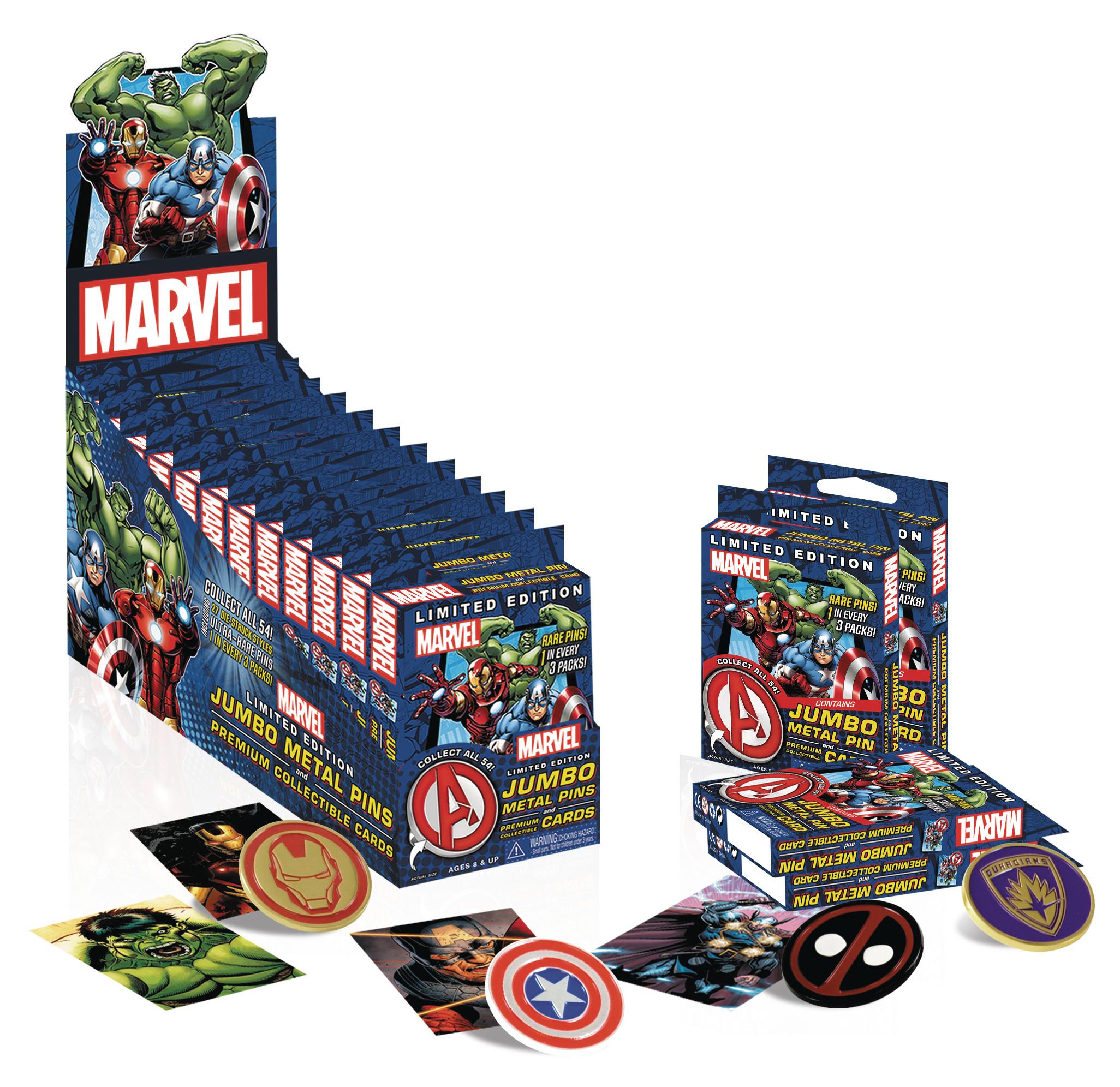 Marvel Pins  FEB MARVEL LTD ED METAL PINS & PREMIUM COLL CARDS
