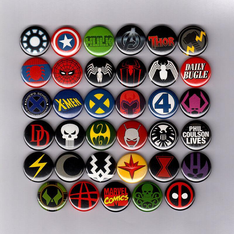 "Marvel Pins  MARVEL ICS LOGOS 1"" PINS BUTTONS avengers spiderman"