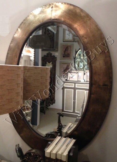 "Metal Framed Mirrors Bathroom  Metallic Oval Wall Mirror Light Bronze 38""H Metal Frame"