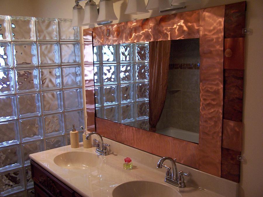 Metal Framed Mirrors Bathroom  Copper Framed Bath Mirror Relief by Jeff Williams