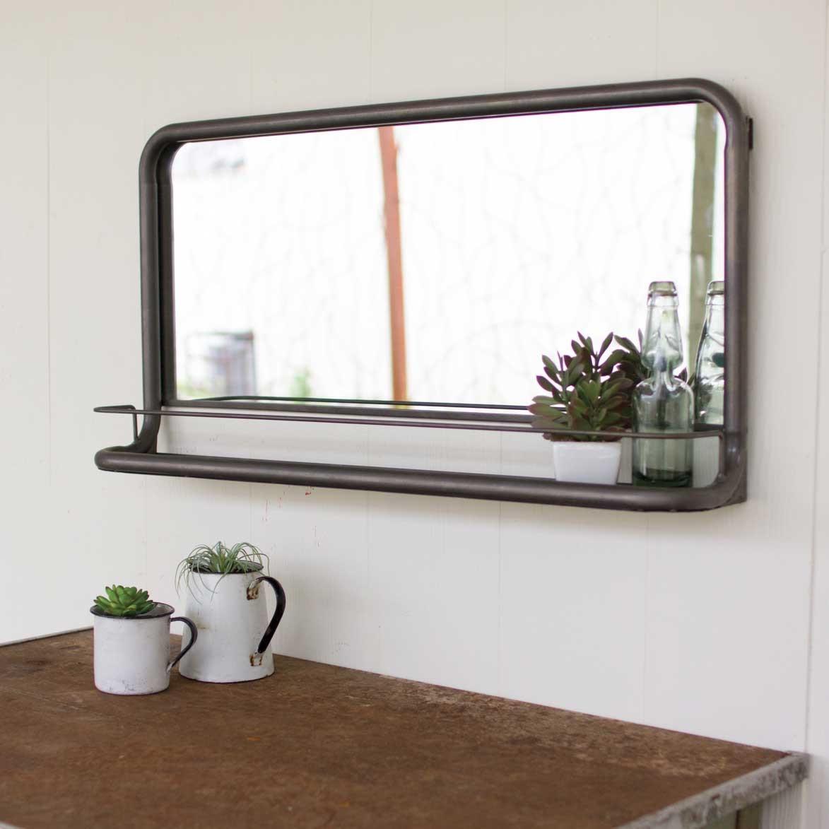 Metal Framed Mirrors Bathroom  Rustic Metal Frame Horizontal Pharmacy Mirror with Shelf