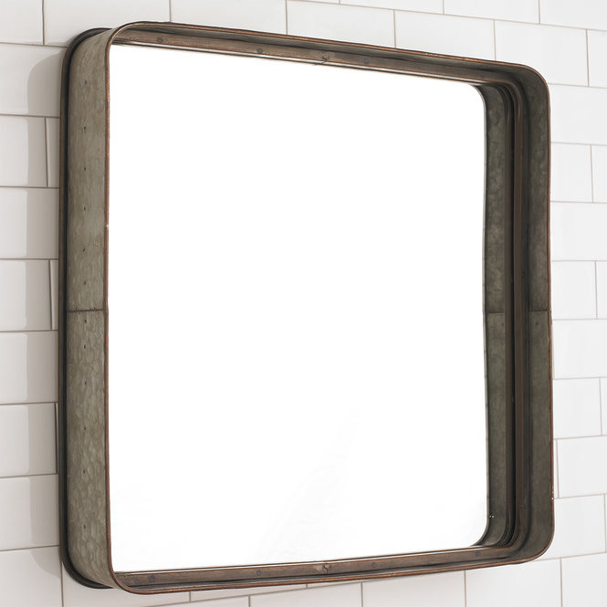 Metal Framed Mirrors Bathroom  Metal Galvanized Squared Mirror Shades of Light