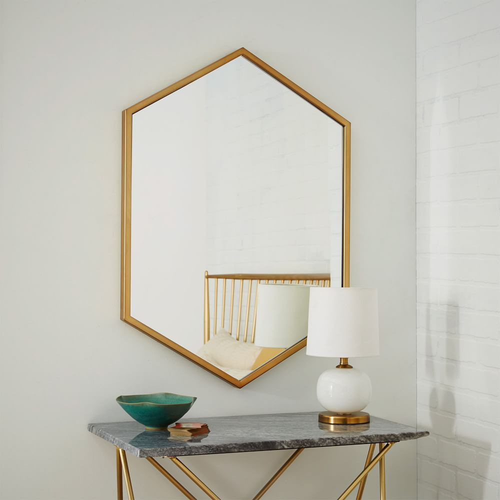 Metal Framed Mirrors Bathroom  Metal Framed Hexagon Mirror