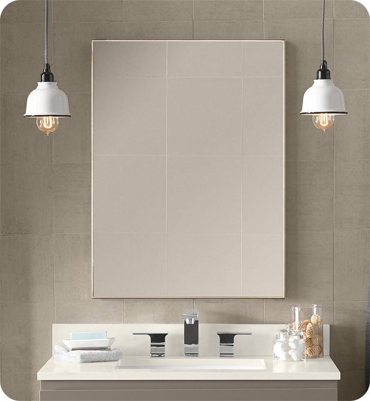 "Metal Framed Mirrors Bathroom  Ronbow BN Contemporary 23x30"" Metal Framed Bathroom"