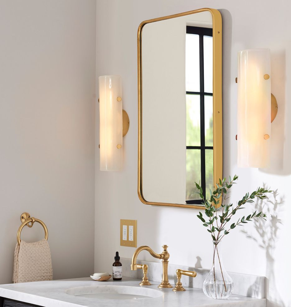 """Metal Framed Mirrors Bathroom  20"""" x 30"""" Aged Brass Rounded Rectangle Metal Framed Mirror"""