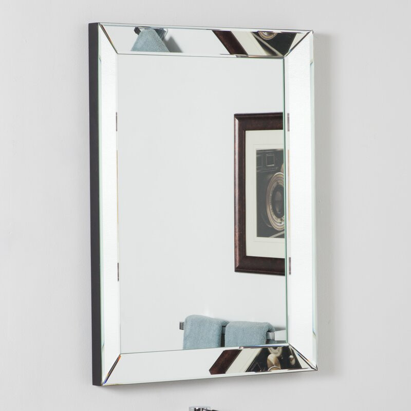 Metal Framed Mirrors Bathroom  Wade Logan Rectangle Silver Vanity Wall Mirror & Reviews