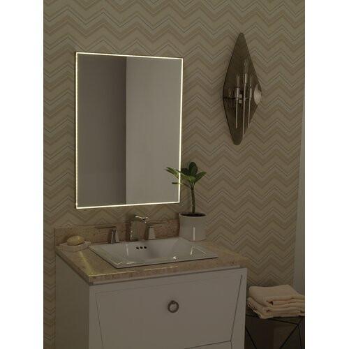 "Metal Framed Mirrors Bathroom  Contemporary 23"" x 30"" Metal Framed Bathroom Mirror w LED"