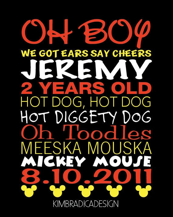 Mickey Mouse Birthday Quotes  Mickey Mouse Clubhouse Mickey Quotes Digital Print