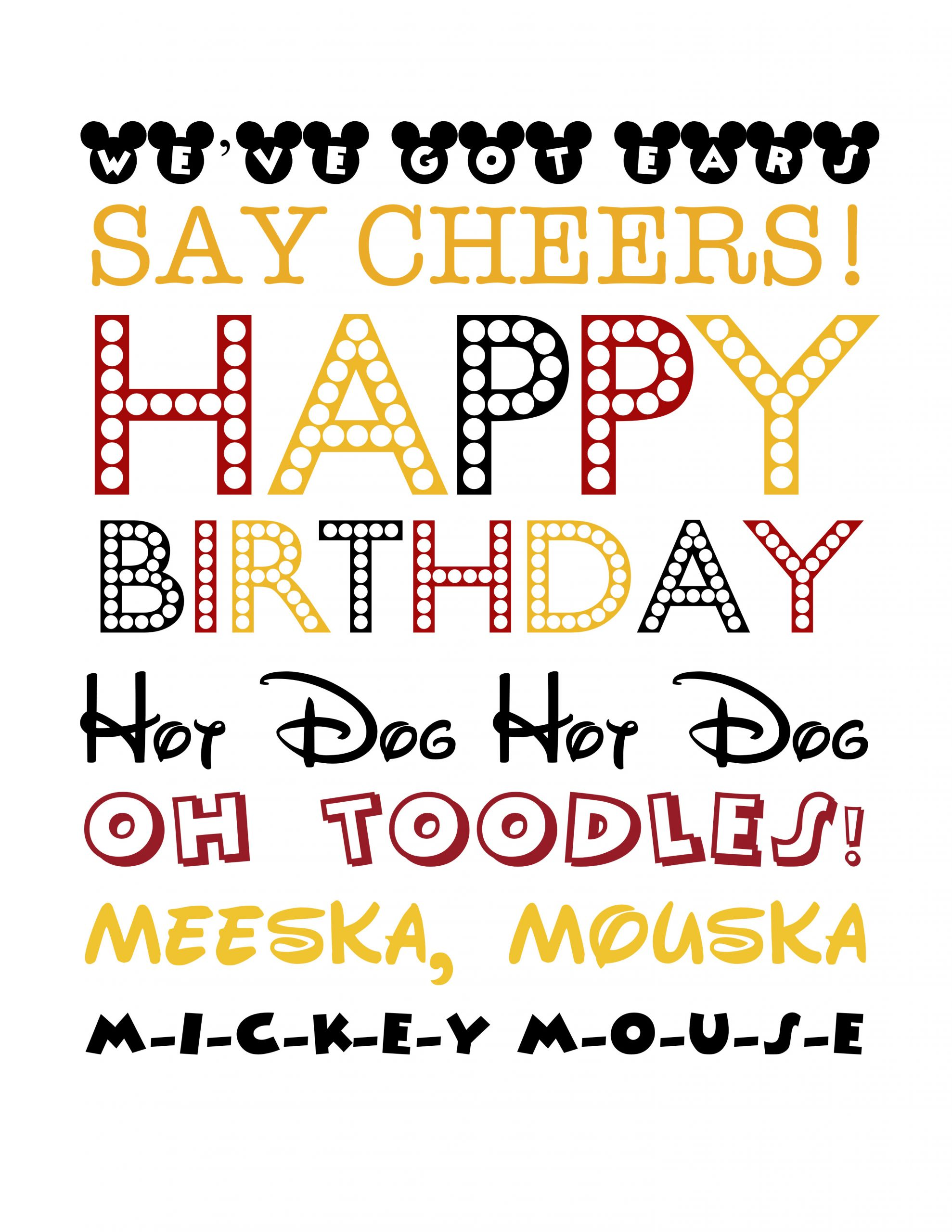 Mickey Mouse Birthday Quotes  Mickey Subway Art Simply Real Moms