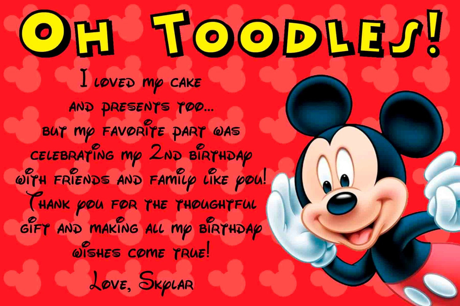 Mickey Mouse Birthday Quotes  SALE Mickey Mouse Thank you card