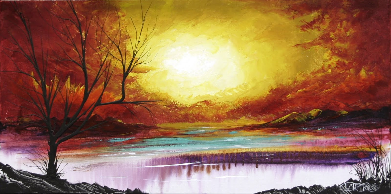 Modernist Landscape Paintings  Red orange yellow Autumn tree Painting Canvas Art Modern