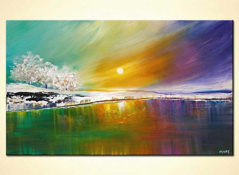 Modernist Landscape Paintings  Buy modern landscape art lake trees and colorful sky 5785